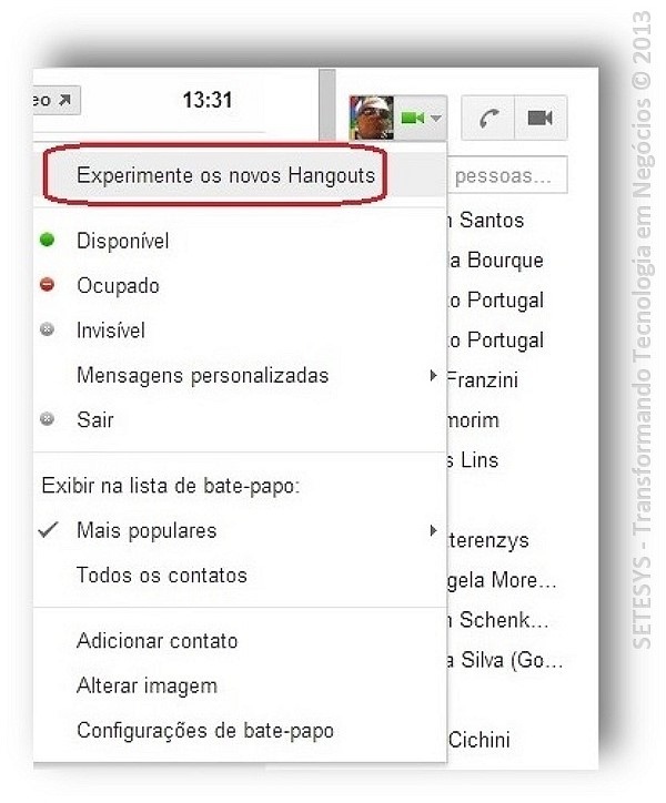 Tutorial sobre Hangouts no Gmail